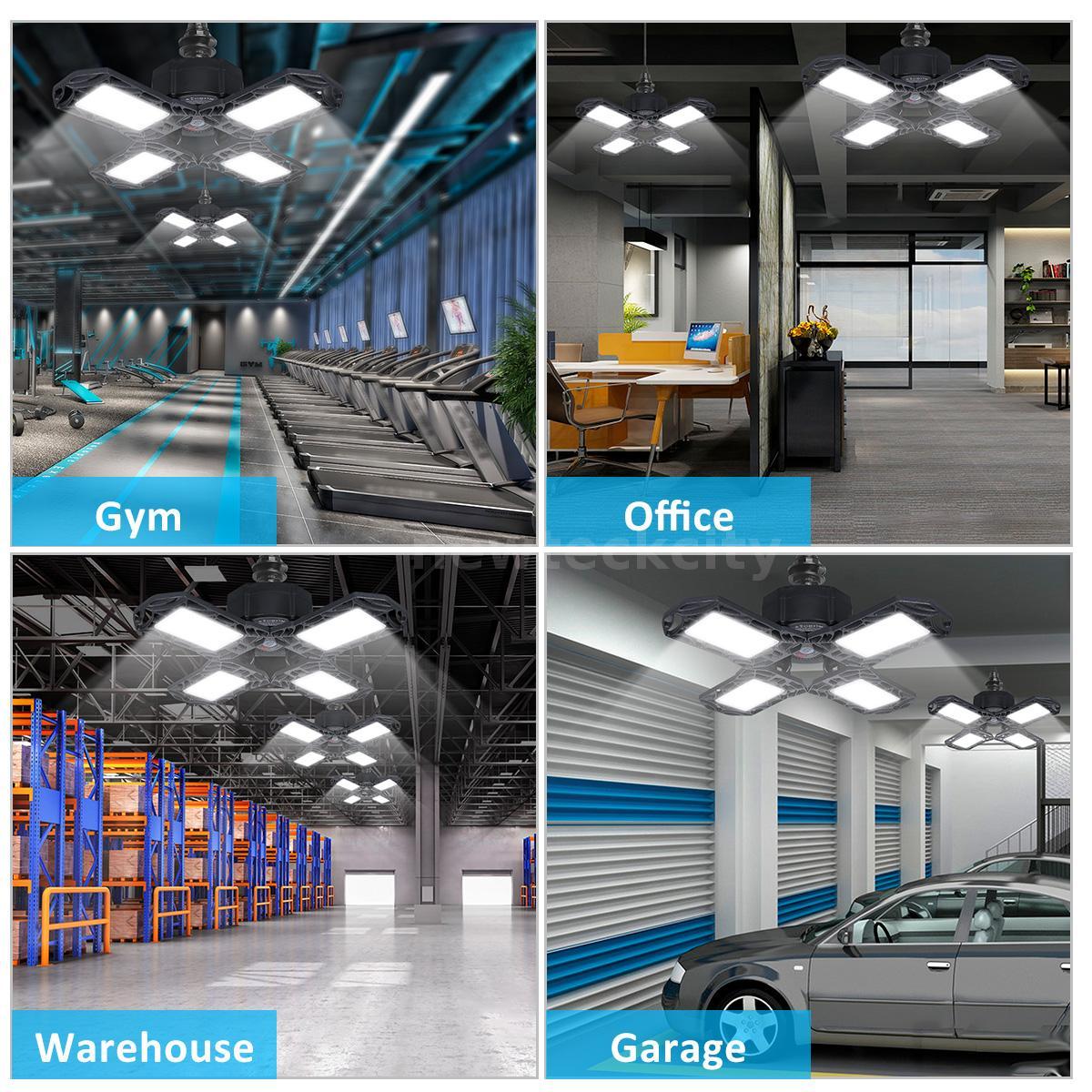 Corridor 10000LM Cool White Deformable Foldable Garage Ceiling Lamp for Garage Stadium Basement 100W LED Garage Light Warehouse Workshop Office