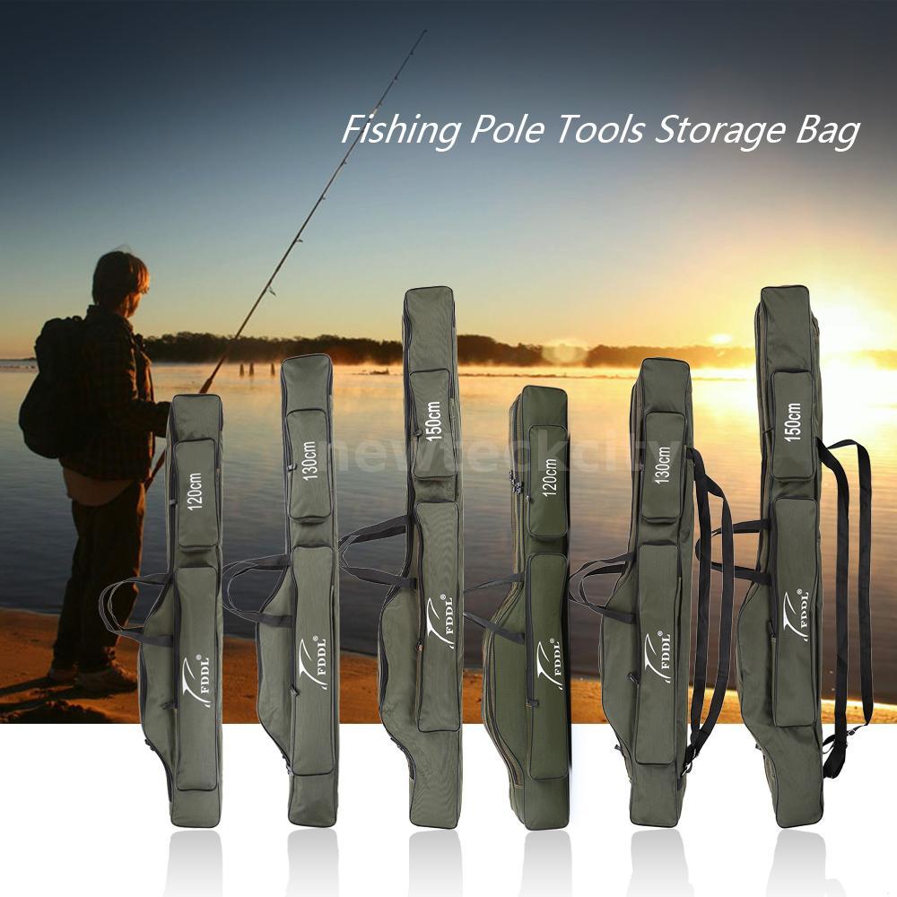 1.2//1.3//1.5M Portable Folding Fishing Rod Carrier Canvas Pole Tools Storage Bag